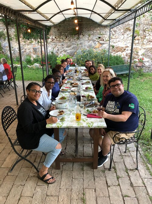 Students around the table at Spannocchia