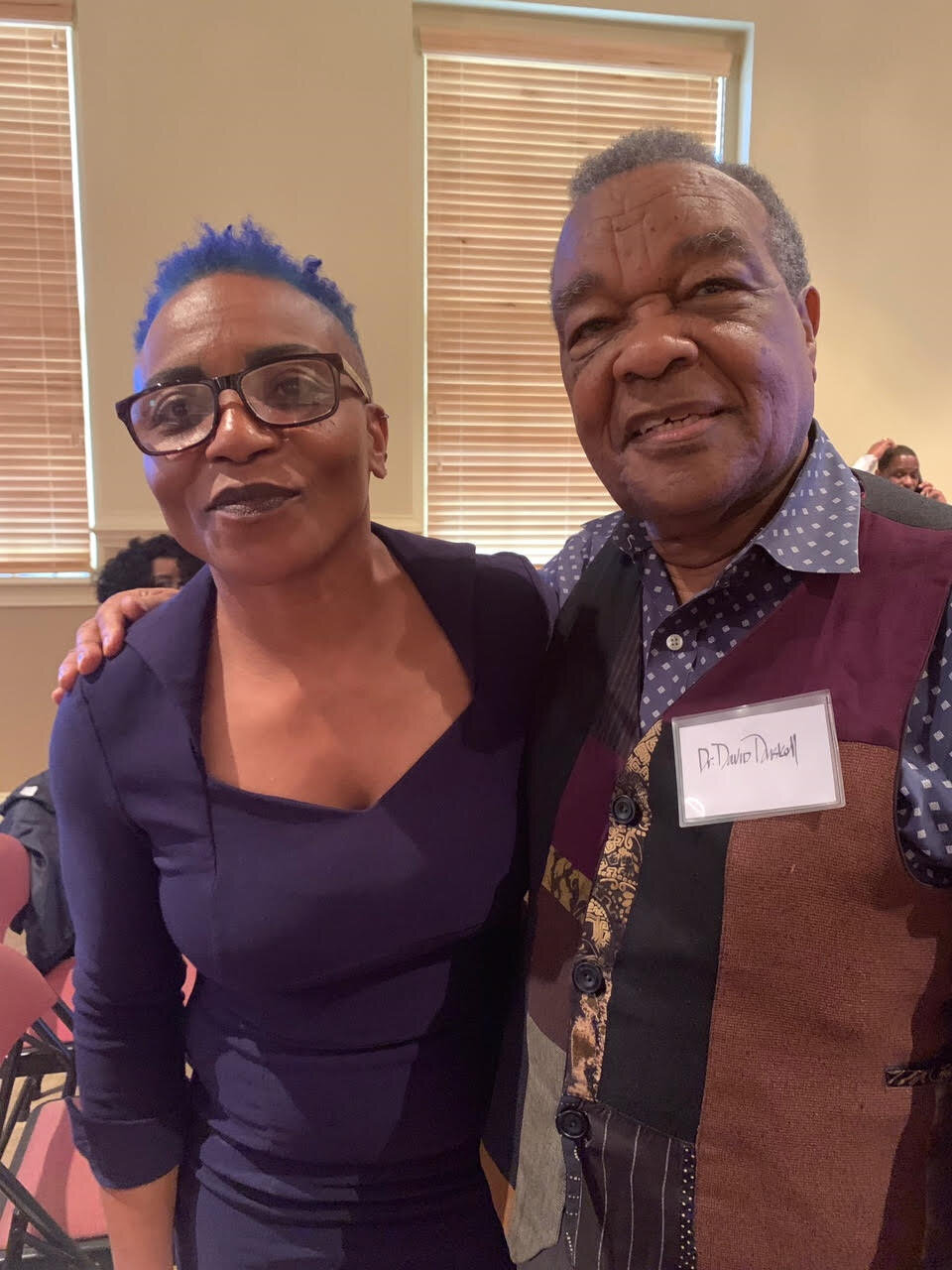 PhD Candidate, Nancy W. Bookhart, with Dr. David Driskell, at the Conference of the Harlem Renaissance. October, 2019 at Paine College, GA