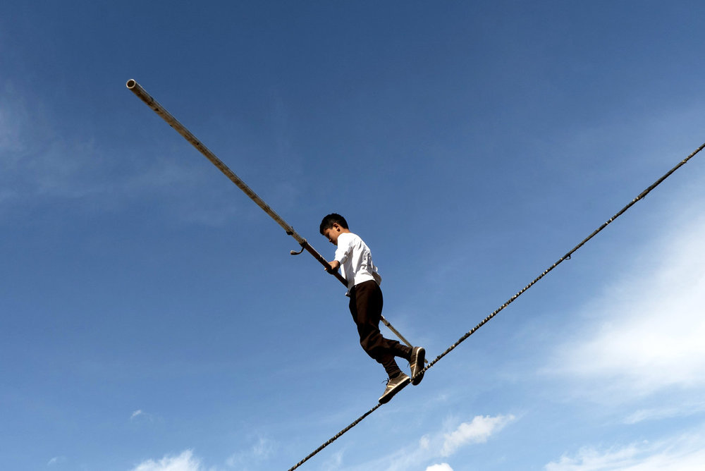 A Turkish tightrope walker shows his skills at the games. Photo by Nic Tanner for NPR