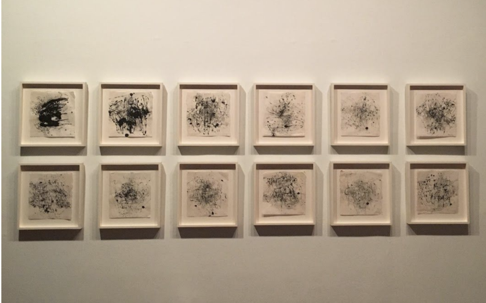 Fig. 3.Jack Whitten, Study for Atopolis , 2014. Acrylic and Sumi ink on rice paper, 12 parts, overall dimensions variable. Photo by: Cj Stephens.