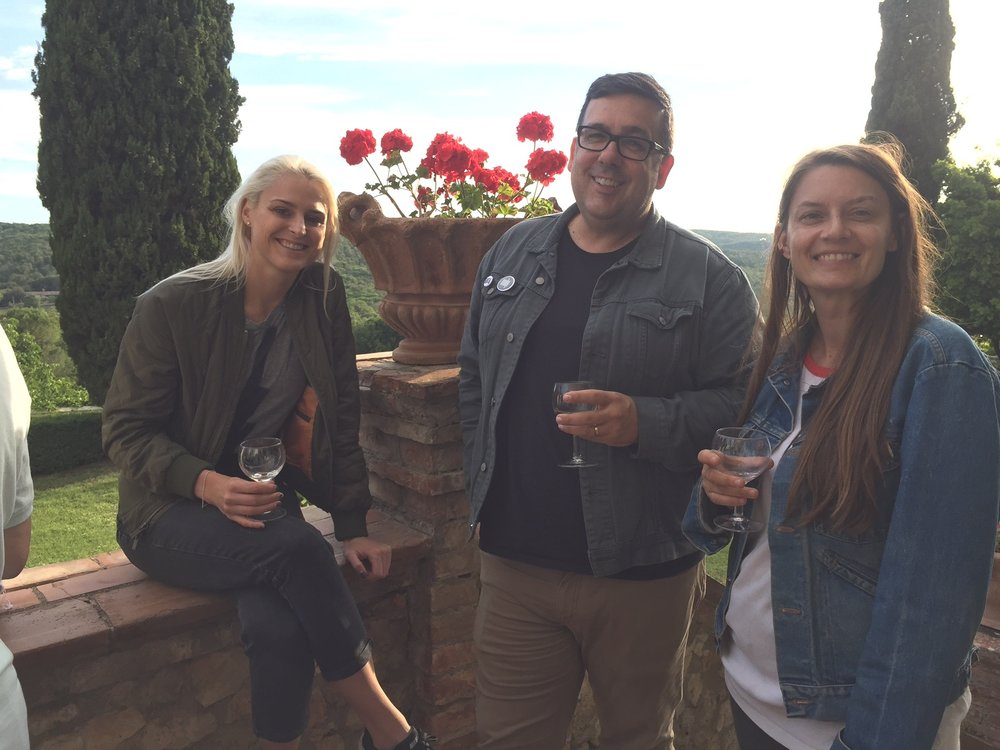 From L to R: Wren Miller, Jason Hoelscher, and Jessica Crocker. Spannocchia 2018. Photo by Simonetta Moro