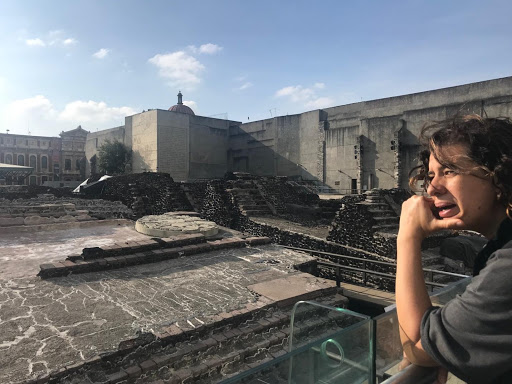 Sandra Stephens at the ruins of Museo del Templo Mayor , June 2018. Photo by Jeca Rodríguez-Colón