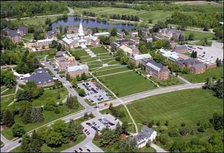 Aerial view of Colby College Campus' Academic Quad