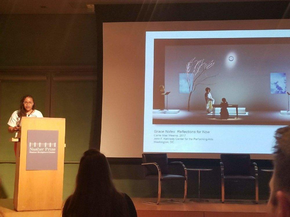 Zoma Wallace presenting at the Nasher Prize Graduate Symposium, Dallas, TX. Photo Courtesy of Zoma Wallace.