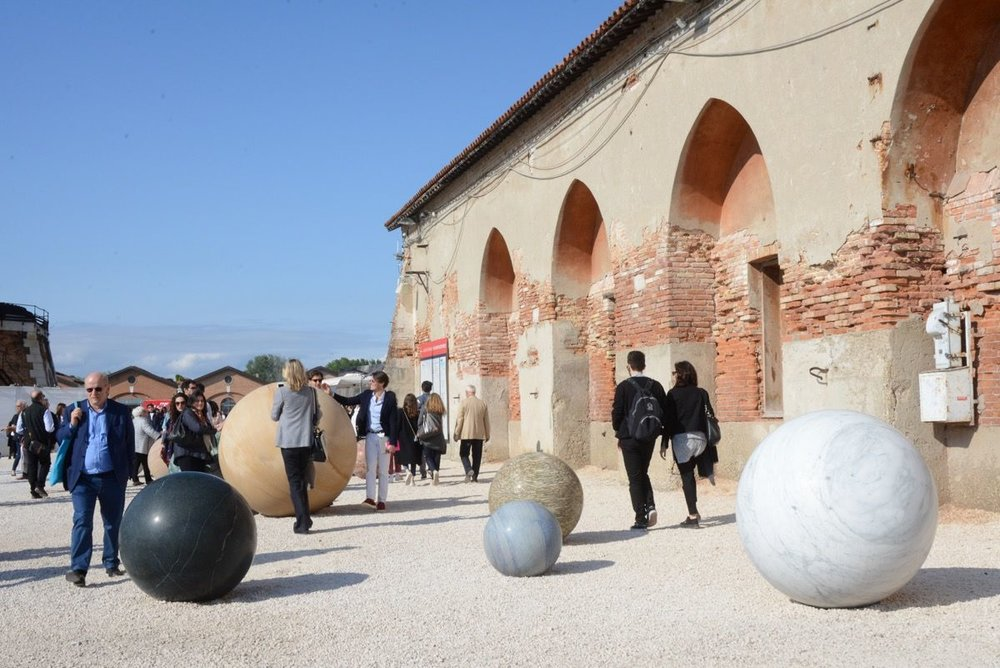 Installation view of work by Alicja Kwade at the Venice Arsenale Photo Credit: Casey Kelbaugh.