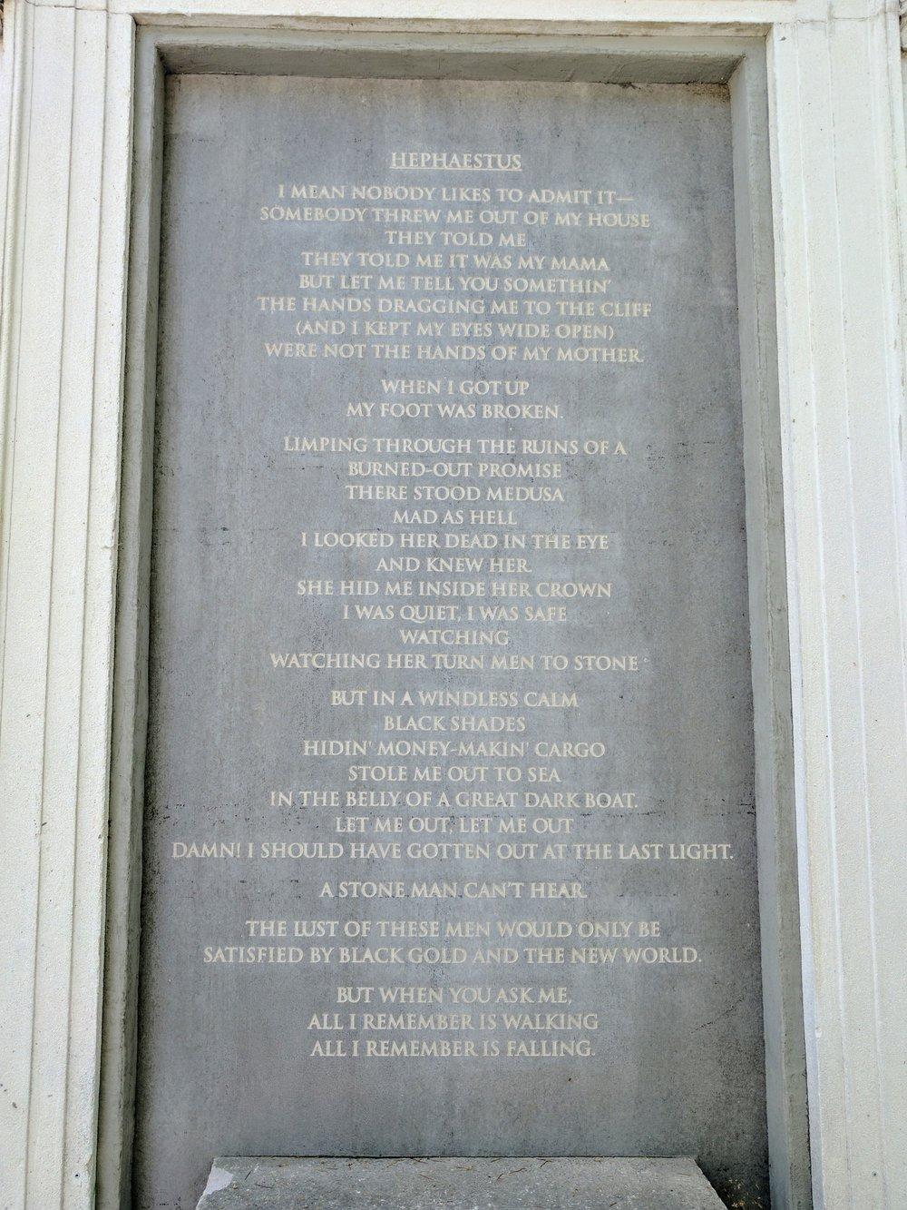 """Hephaestus"" inscription at the American Pavilion Photo Credit: Jonathan Morgan"