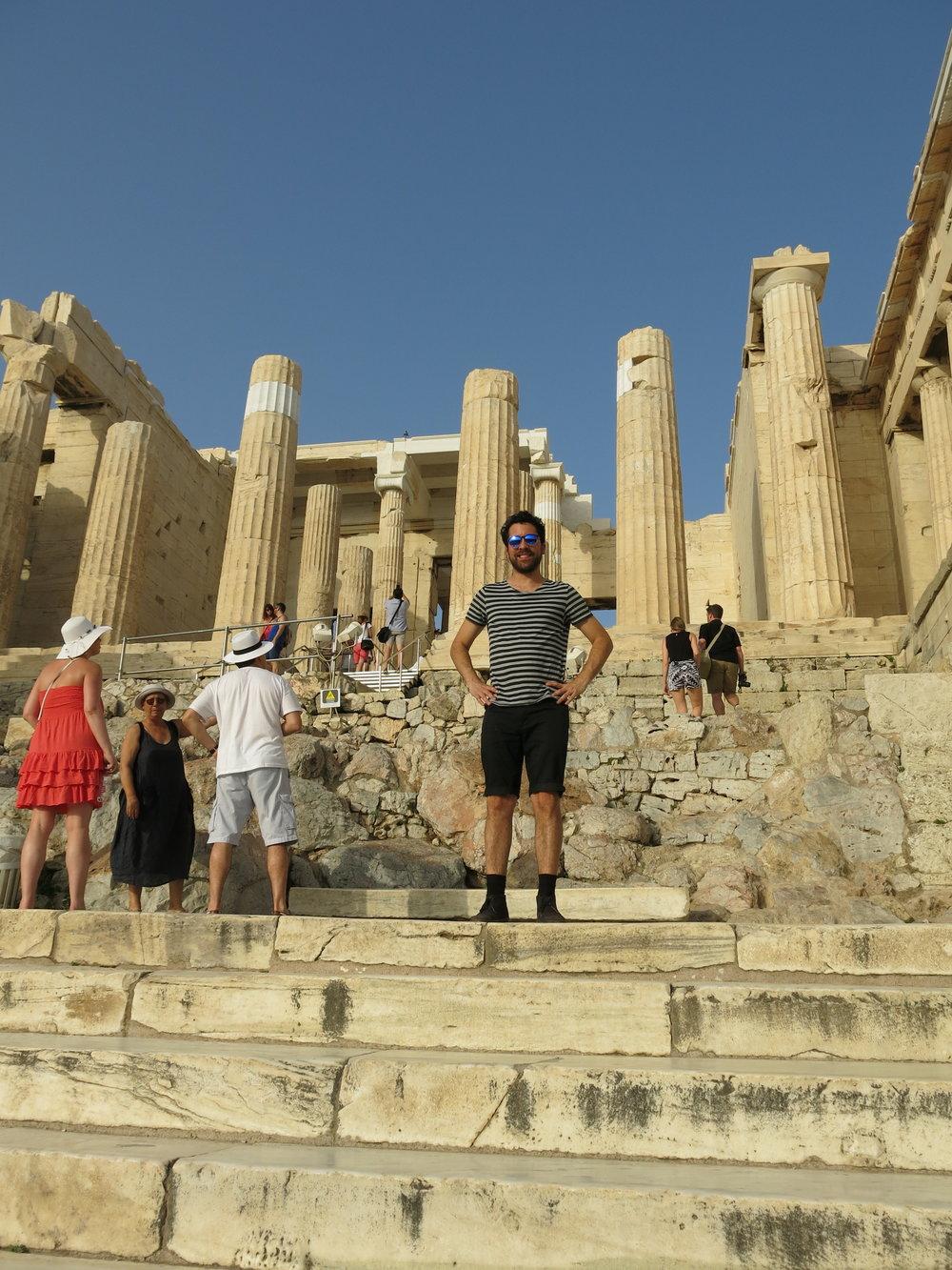Milos Zahradka Maiorana, IDSVA student, on the steps of the Acropolis. Photo by Gabriel Reed.