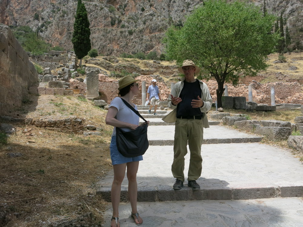 George Smith and IDSVA student exploring Delphi. Photo by Gabriel Reed.