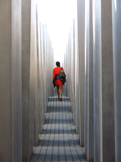 IDSVA student at the Holocaust Memorial. Photo by Gabriel Reed