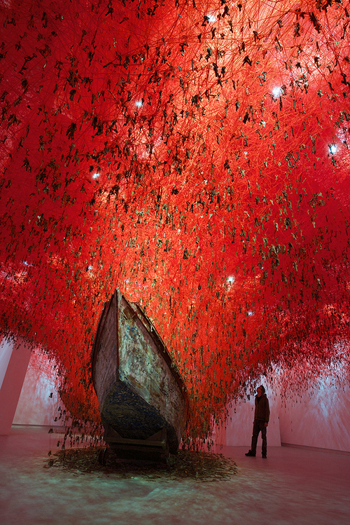 The Key in the Hand, by Chiharu Shiota.