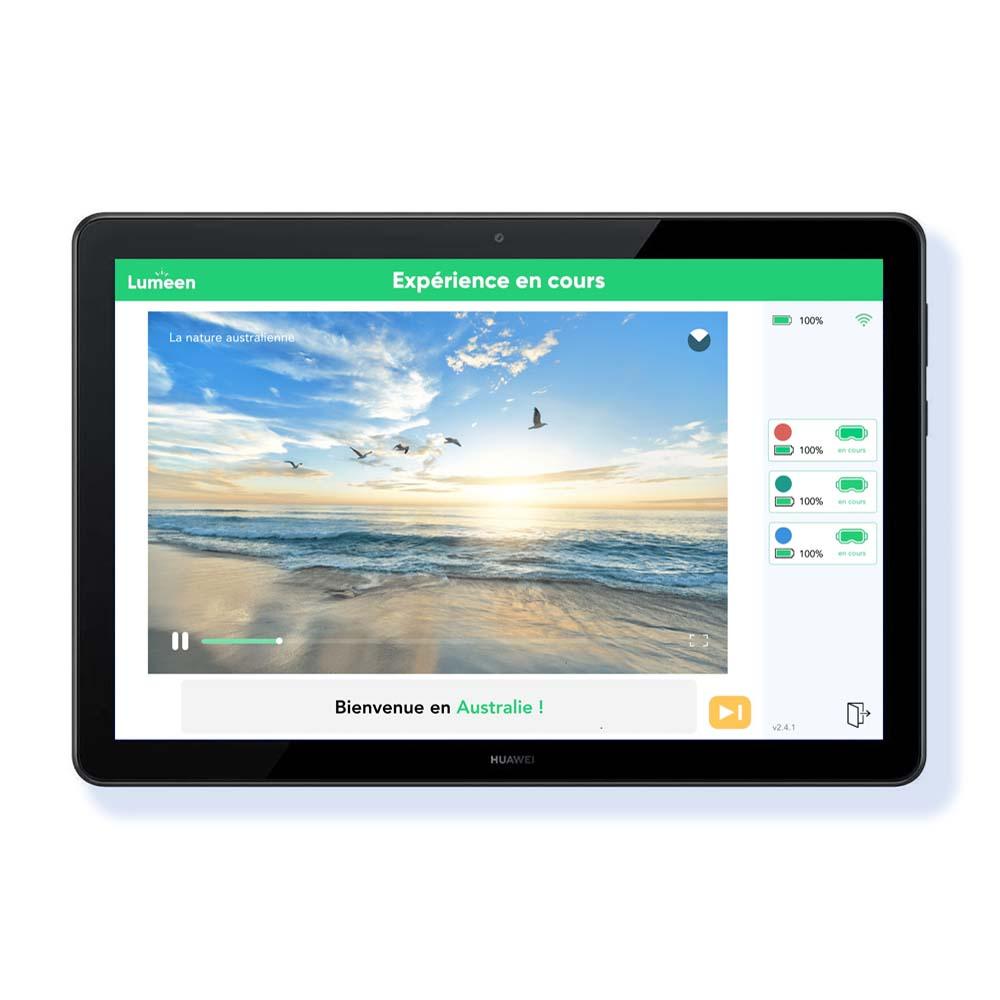 tablette montrant expérience immersive du module évasion