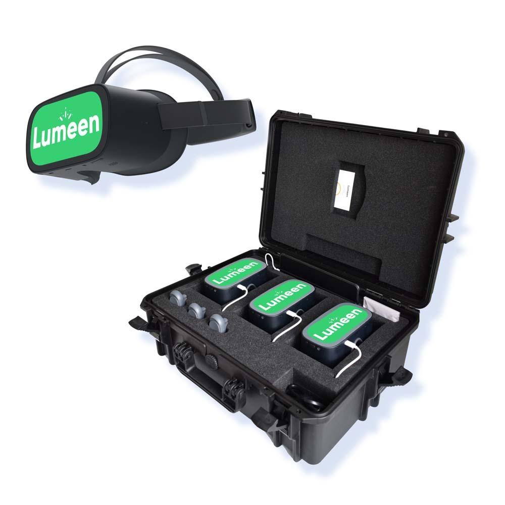 casques de réalité virtuelle et malette de rangement et chargement
