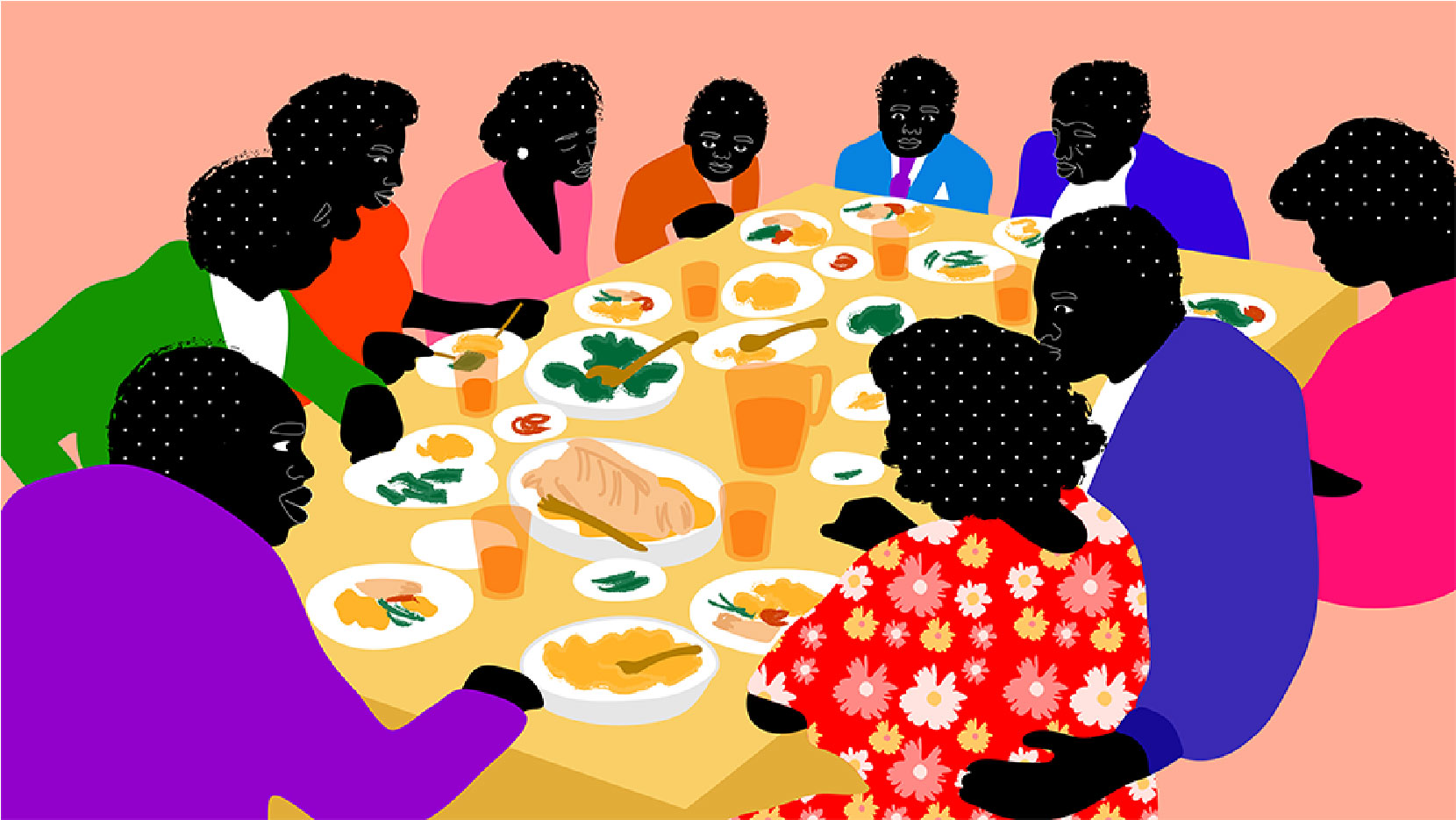 diner, together, group of people, eating, food, table, dining room