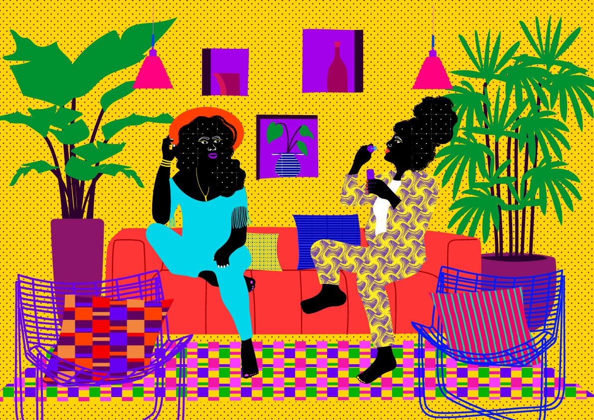 yellow, plants, home, sofa, women, decor, black, plants