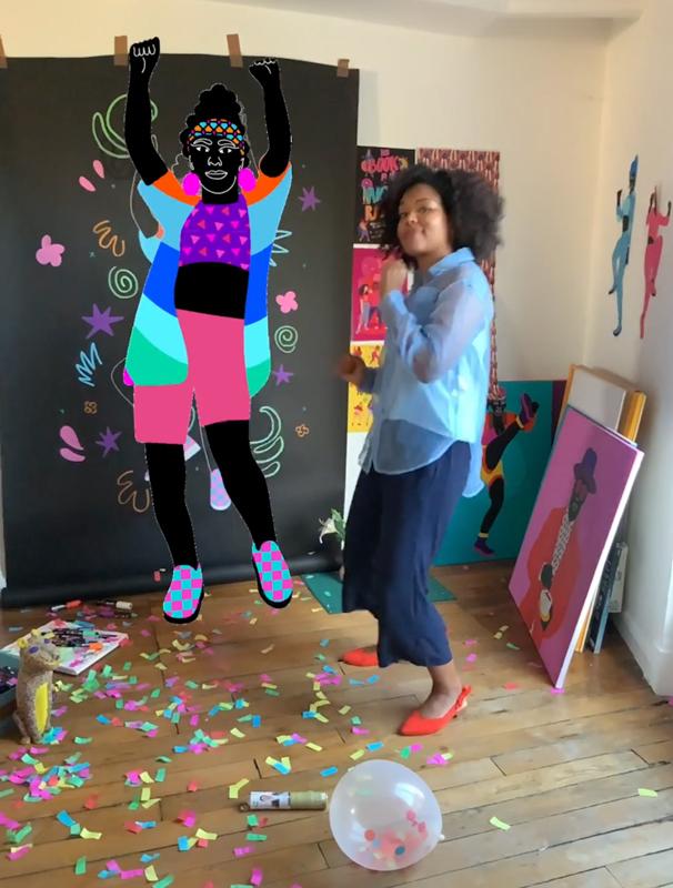dance, black, woman, drawing, timelapse, video, animation, aurélia, live drawing