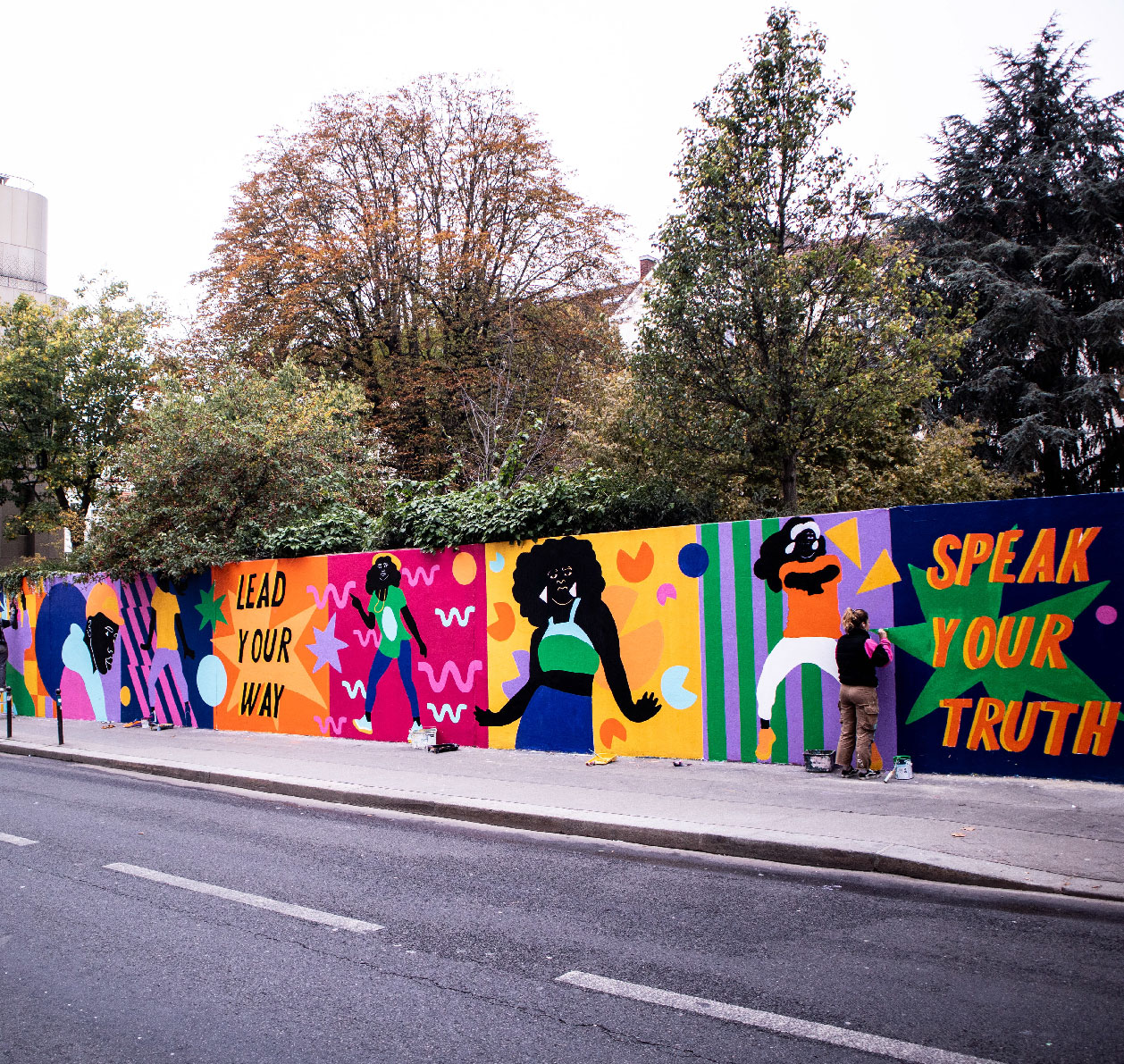 mural, wal art, street art, paris, art azoï, ménilmontant, painting, acrylic
