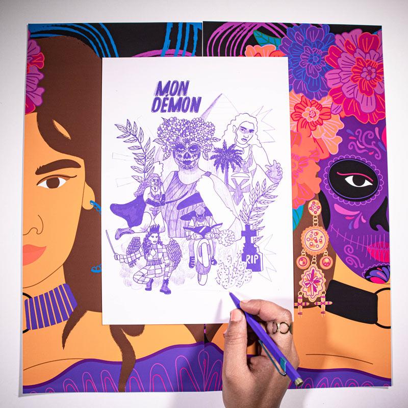 sônge, cover art, drawing, purple, démon, music, photo