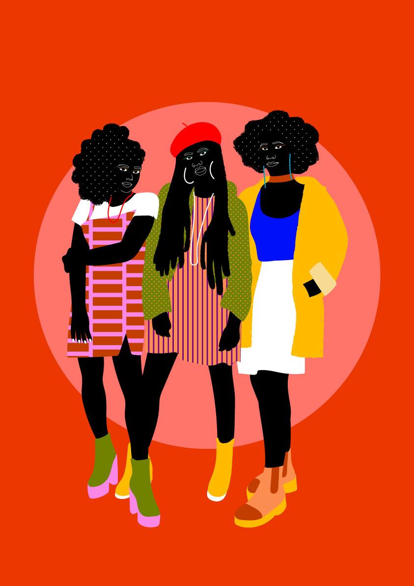 together, trio, red, fashion, black