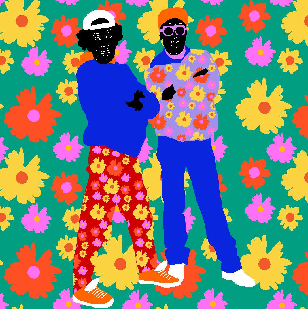 hip hop, sport wear, sport outfit, fashion, flowers, men, man, colorful