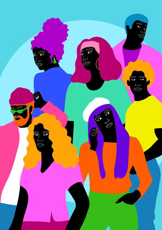 group of people, together, black, blue