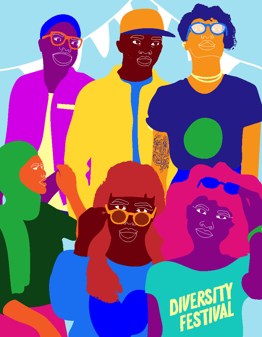 diversity, multicultural, together, group of people, colorful skin, blue, party, celebration
