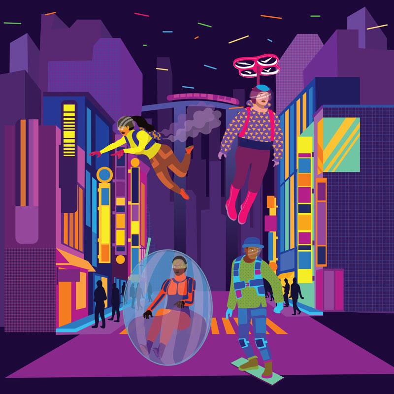 future, futuristic, city, transport, decor,