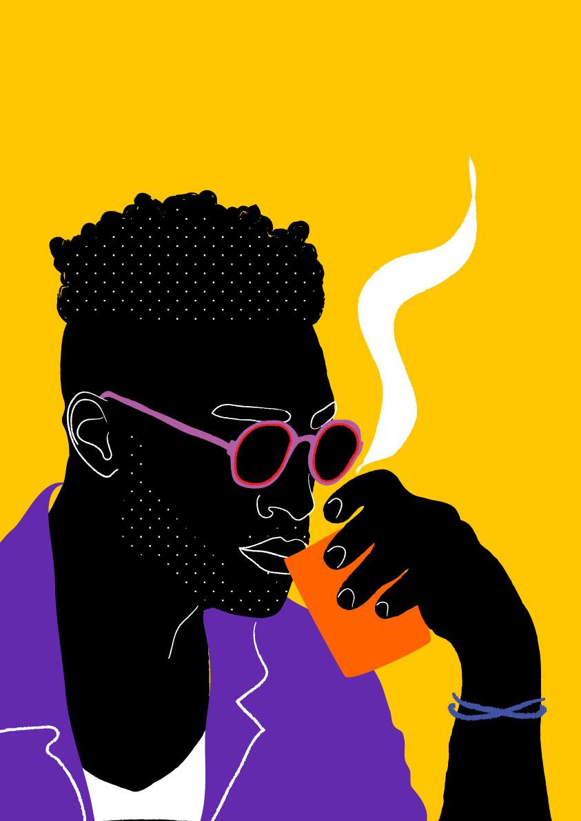man, black, yellow, purple, coffee, café, drink, portrait