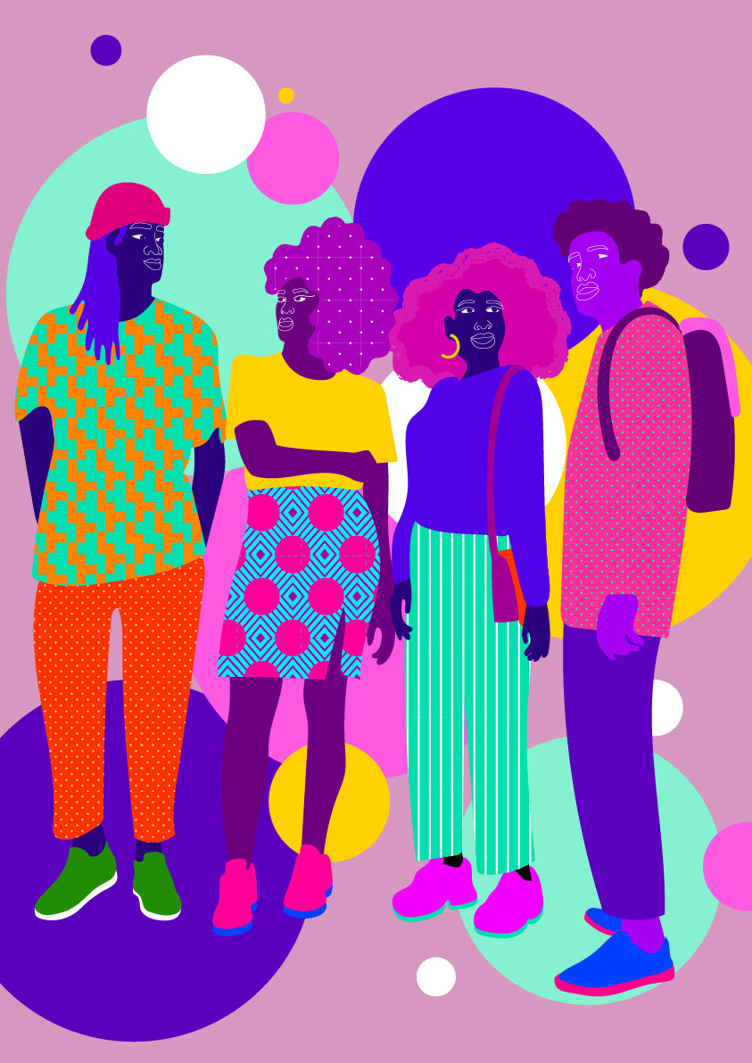 purple, pink, students, colorful face, multicolor, diversity