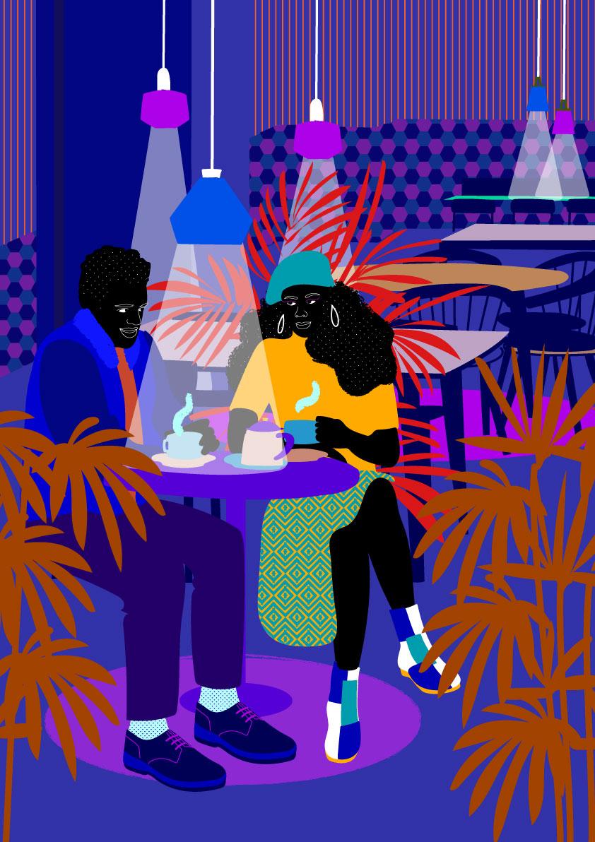 interior, decor, restaurant, couple, black, blue navy, blue