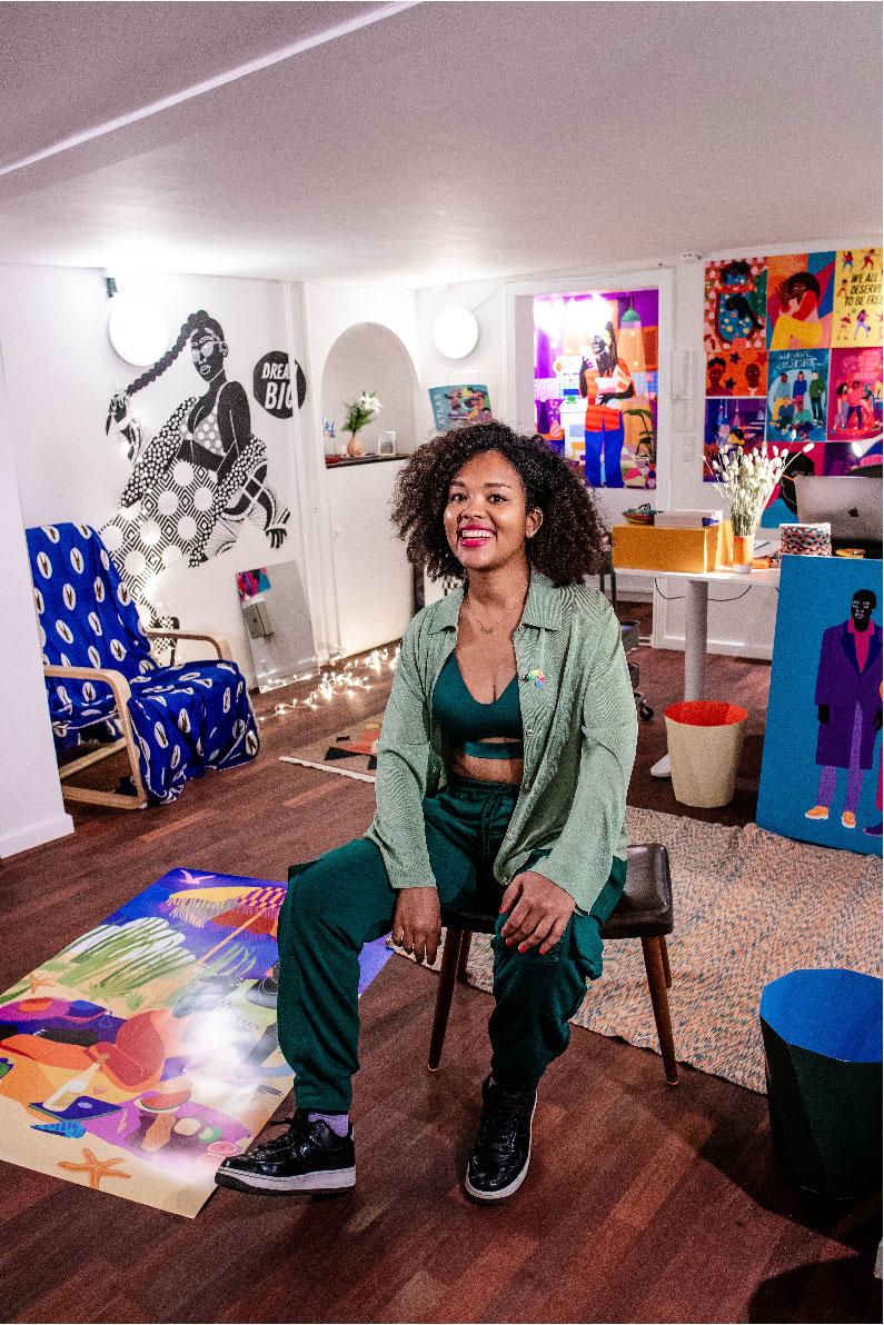 aurélia, studio, painting, canvas, interior