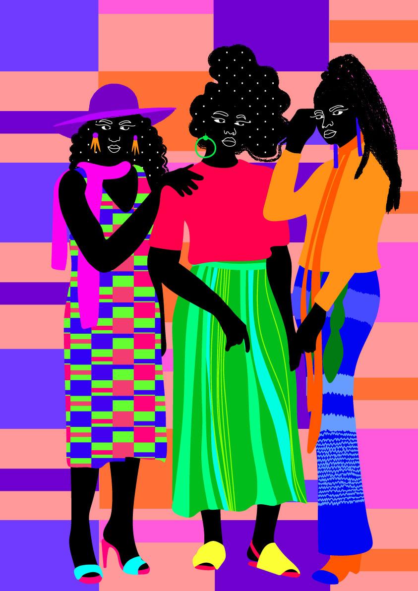 trio, women, together, black, fashion, pattern