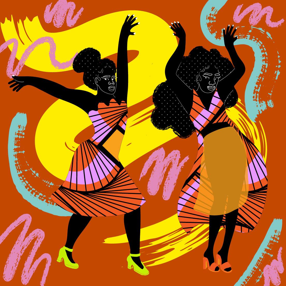 dance, confetti, brown, yellow, black, women, duo, women duo, motion, sport