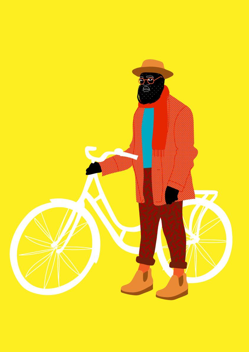 velo, bike, bicycle, man, yellow, orange, hat, black
