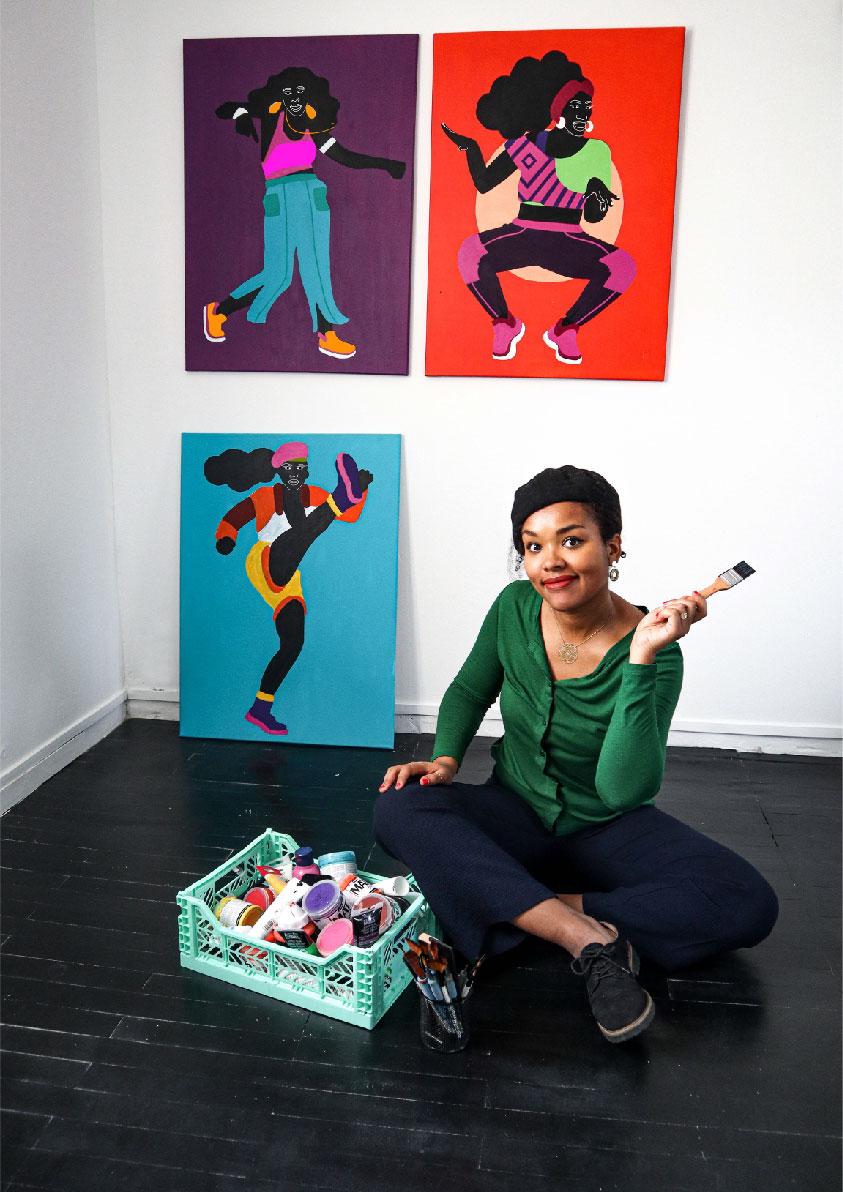 Aurélia, portrait, black, canvas, dancing, motion, move, women purple, blue, red, acrylic, painting, studio