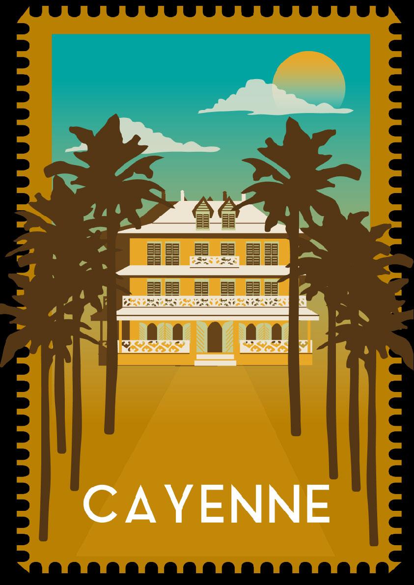 postcard, exotic, palm tree, decor, landscape, house