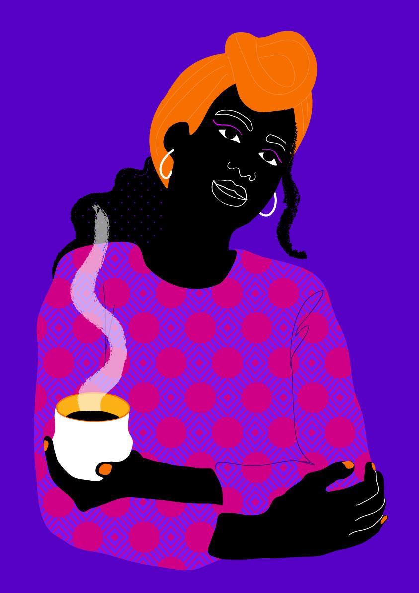 coffee, relax, black, portrait