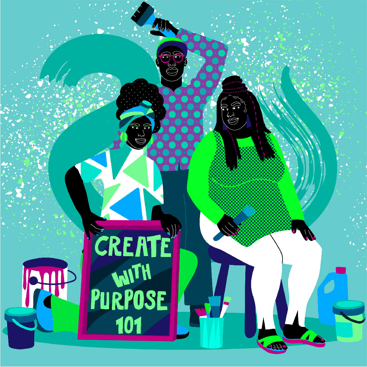black, group of people, artist, creativity, skillshare, blue, green, man, women