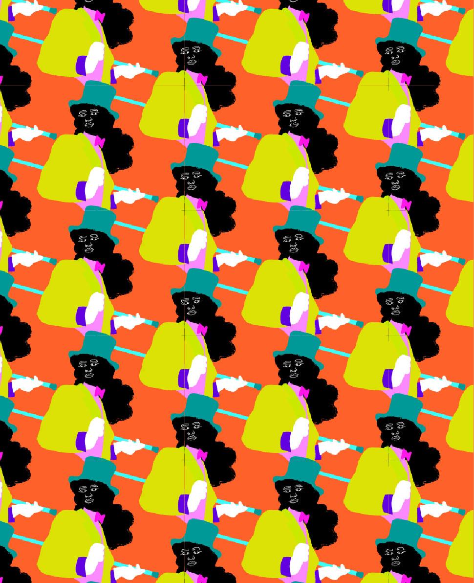 pattern, la sape, dandy, orange, black, yellow