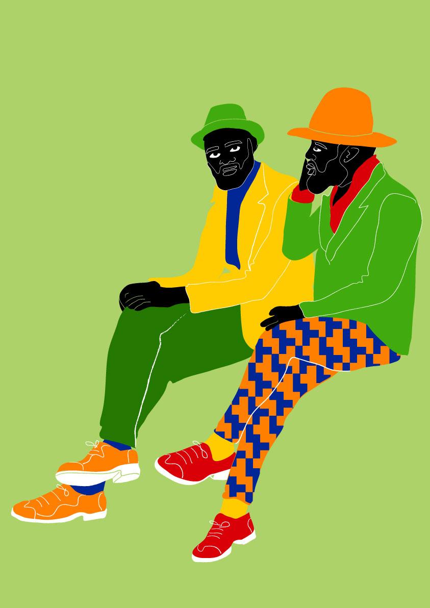 men, congo, dandies, la sape, pattern, green, black