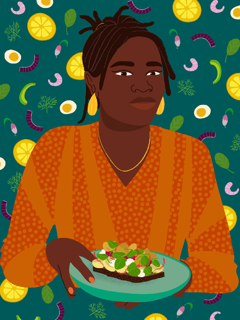 smorrebrod, danish, food, culinary, portrait, sandwish, orange, green,