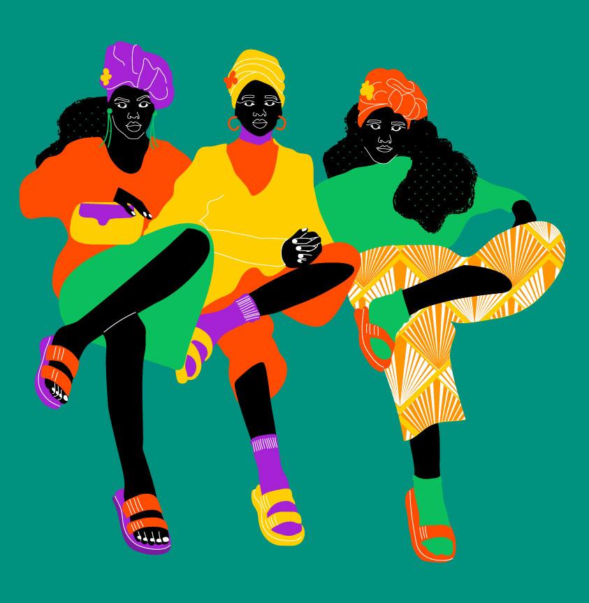fashion, women, green, yellow, orange, black, trio