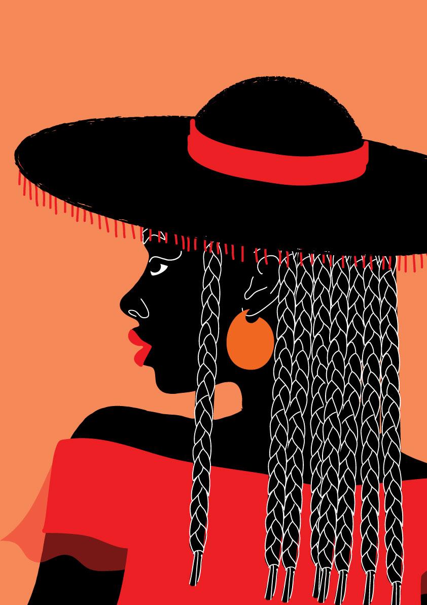 portrait, rouge, red, hat, orange, black