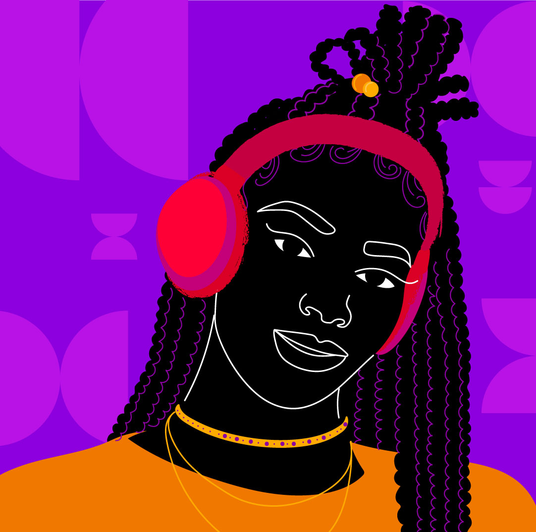 cover podcast, podcast, radio, portrait, woman, black, purple, orange, npr