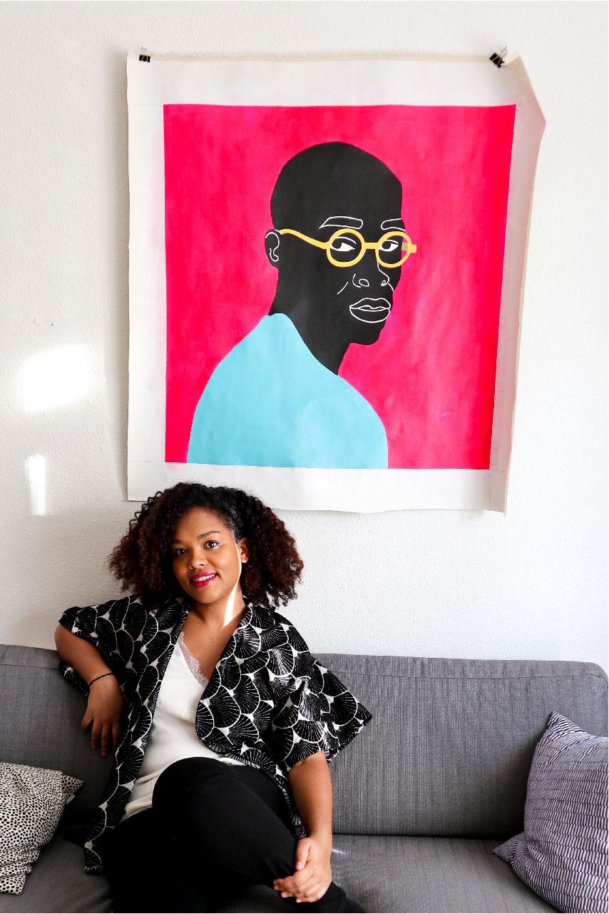 Aurélia, portrait, black, canvas, man, pink, blue, yellow, acrylic, painting, studio