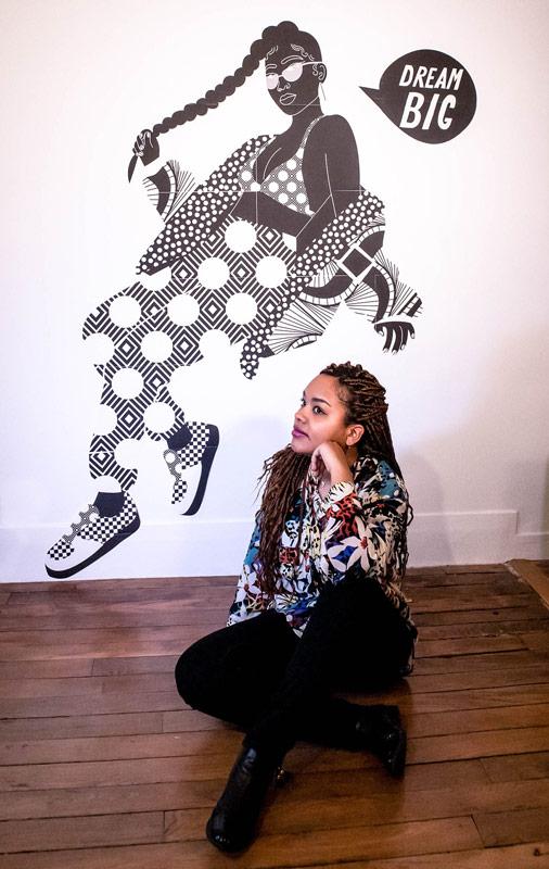 poster, aurélia, studio, black and white