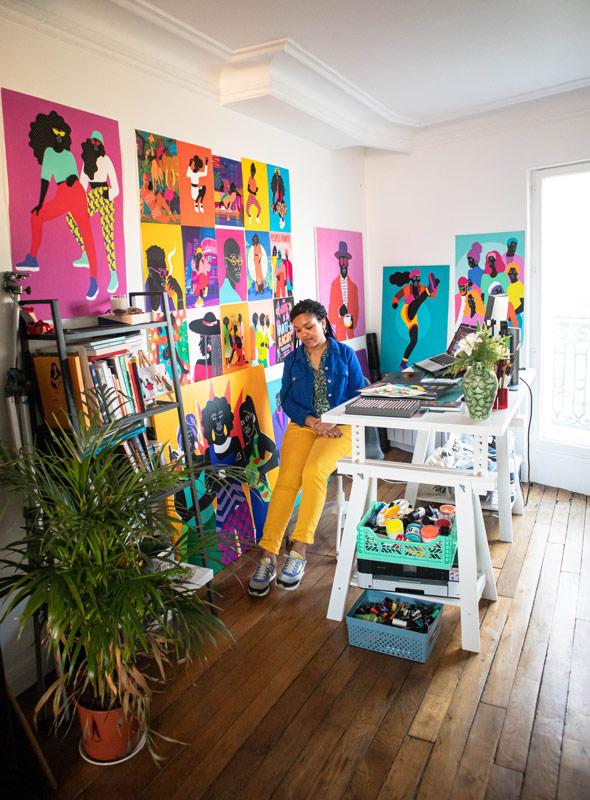 studio, aurélia, posters, desk