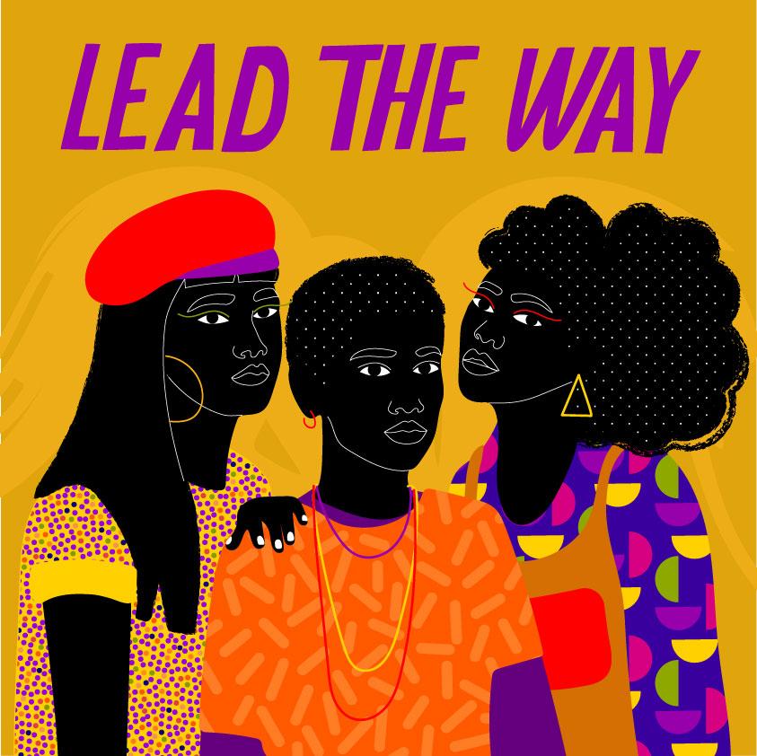 strong, women, trio, black yellow, orange, purple, text, slogan, lettering