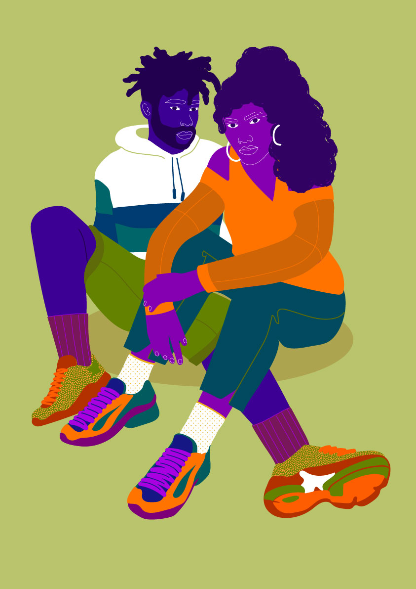 mixed couple, couple, sport wear, sport, sneakers, colorful skin, green, man, woman