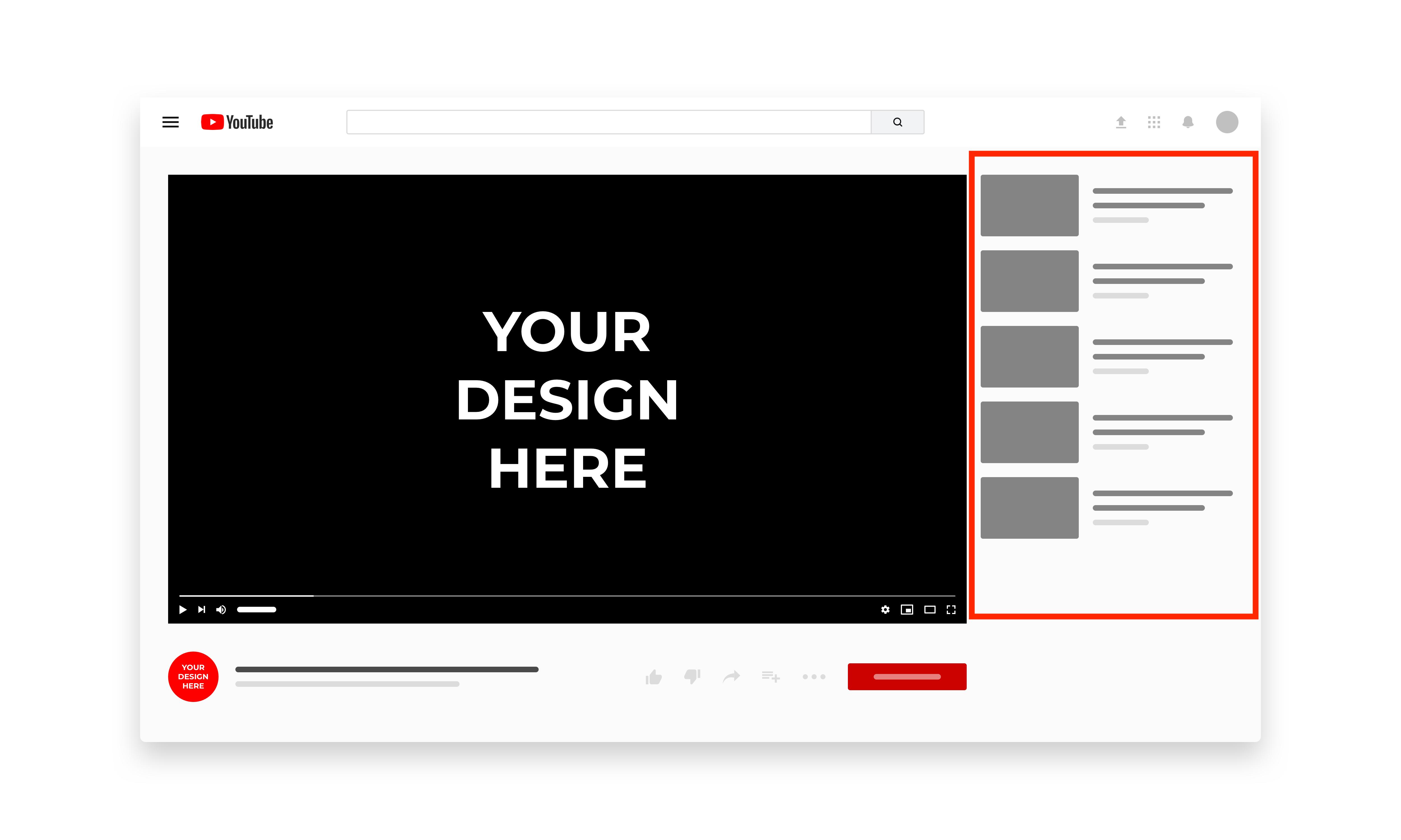 Vorgeschlagene Videos im YouTube Design. Immer rechts des Videos.