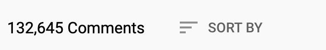 Kommentar Zahl unter einem Video